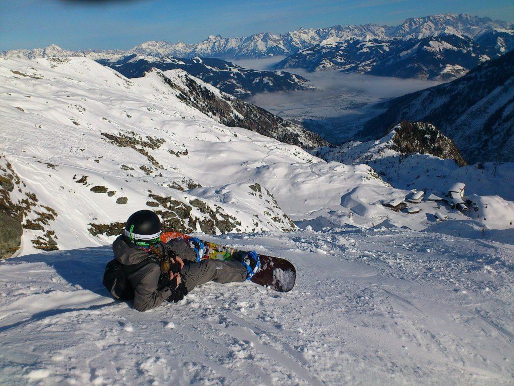 Snowboarding v Alpách